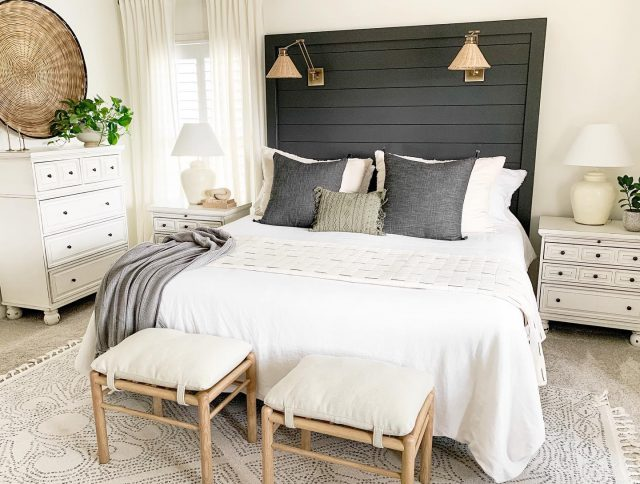 A few months ago, my headboard got a makeover. It was painted a moody color, and I added these pretty lights to it. It's amazing how much this small change completely changed the look of this room. So, the moral of the story is, if you have an itch to change something with paint, DO IT!!  #bhghome #boutiquerugs #americanfarmhousestyle #nursery #homedecor #interiordesign #interior  #decor #neutraldecor #homedesign  #homesweethome #interiors #countrysampler #furniture #farmhousestyle #love #interiordesigner #interiordecor #vintage #homestyle #walldecor #instahome #interiorstyling #shabbychic #inspiration #diy #boysroom #style #farmhousedecor